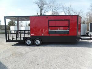 8 5 X 22 Red Pizza Catering Event Concession Trailer