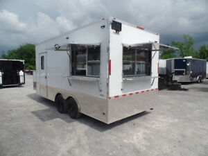 Concession 8 5x18 White Food Event Catering Trailer
