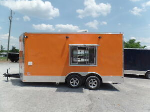 Orange 8 5x16 Food Catering Event Concession Trailer