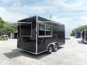 Concession 8 5x16 Black Flat Front Food Catering Trailer