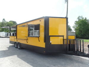 8 5 X 24 Yellow Porch Style Concession Food Trailer