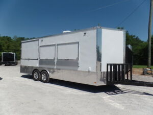 Concession Trailer 8 5x22 White Event Catering Trailer