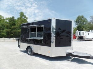 8 5x12 Black Food Catering Event Concession Trailer