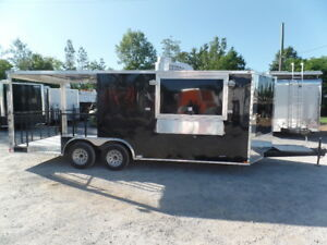 8 5 X 20 Black Porch Style Concession Food Trailer