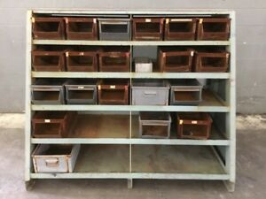 Steel Stack Bins W Storage Shelf
