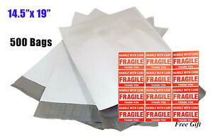 500 14 5x19 Large Sel seal Poly Mailers Tearproof Plastic Shipping Envelopes Bag