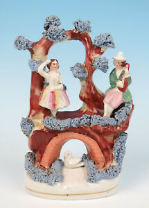 Antique Staffordshire Couple In Tree W Swan Figure Victorian Pottery Figurine