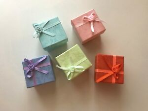 Wholesale Lot 200 Pcs Ring Jewelry Display Boxes Bowknot Square Case Multicolor