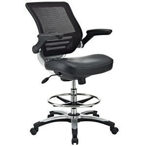 Drafting Task Chair In Black Vinyl Reception Desk Chair Tall Office C