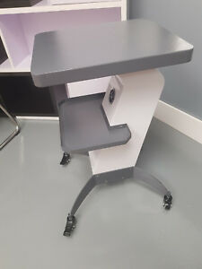 Utility Working Table With Shelves wheels Painted Metal Grey And White