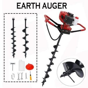 Auger 56cc Post Hole Digger Gas Powered Borer Fence Ground Drill 4 6 Bits