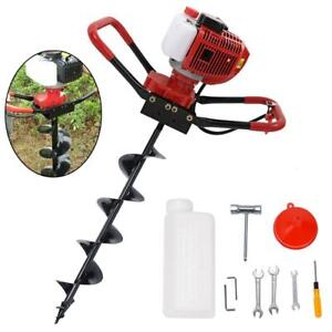 56cc Power Engine 2 3hp Gas Powered One Man Post Hole Digger W 6 Auger Bits