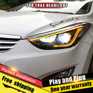 For Elantra Headlights Assembly Bi Xenon Lens Double Beam Hid Kit 2011 2016
