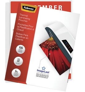 Fellowes Imagelast Laminating Pouches Letter 5 Mil Thickness Pack Of 100