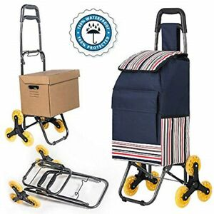 Heavy Duty Folding Grocery Shopping Cart Collapsible Rolling Trolley Bag Black