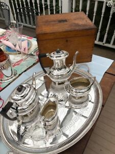 Antique English Sheffield Silver Plate Coffee Tea Set From Palatine Club Gb