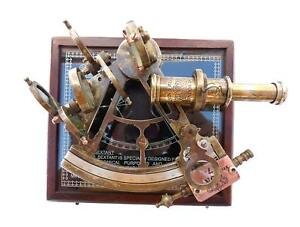 Mah Antique Astrolabe Style Brass Nautical Sextant With Wooden Box