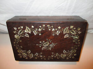 Antique Inlaid Mother Of Pearl Mop Wire Inlay Wood Storage Document Jewelry Box