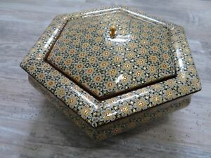 Khatam Persian Wooden Handcraft Inlaid Nut Or Chocolate Box Isfahan Art Larger