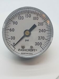 New Ashcroft Air Pressure Gauge 0 300 Psi Bronze Tube Brass Socket