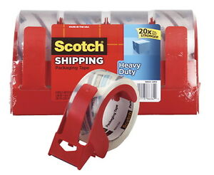 Scotch Shipping Packaging Tape With Dispenser 1 88 Inches X 54 6 Yards Pack Of