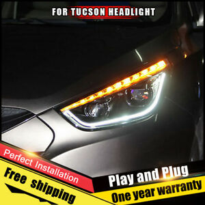 For Ix35 Tucson Headlights Assembly Bi Xenon Lens Double Beam Hid Kit 2010 2015