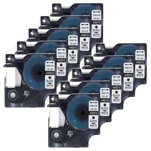10pk 45013 Black On White Label Tape For Dymo D1 Labelmanager S0720530 12mm 1 2