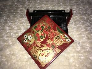 Rare Vintage Japanese Ornate Lacquer Made In Japan With Handle Removable Tray