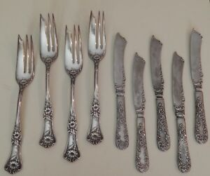 4 Wm A Rogers A1 Pat 1906 Pastry Dessert Fish Forks 5 Coin Silver Knives