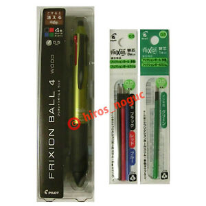 Pilot Frixion Ball 4 Wood 4 Color Multi Pen Darkgreen 4 Color Refills Set