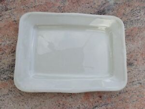 Antique Artisanal White Rectangular Ironstone Platter