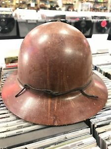 Vintage Brown Msa Skullgard Miners Safety Helmet Hard Hat Full Brim k Style