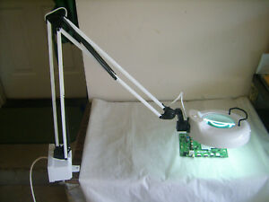 Articulating Bench Work Magnifier Light Vise Clamp On With Outlets Heavy Duty