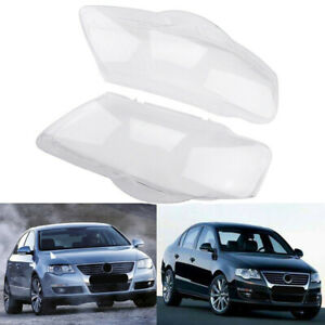 Pair Car Headlight Clear Lens Cover Plastic Shell Lampshade For Vw Passat B6 R36