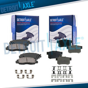 Front Rear Ceramic Brake Pads W Hardware For Acura Cl Honda Accord Civic