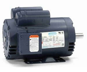Leeson 120554 00 5hp Compressor Duty Motor 3450 Rpm 230v 1ph 145t 7 8 Shaft