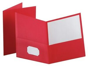 Oxf57581ee Leatherette Two Pocket Portfolio Red 10 Pack