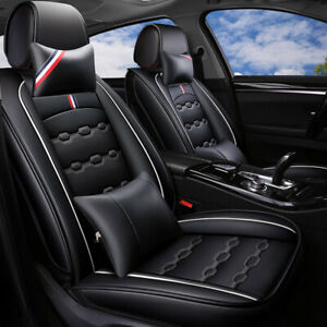 Leather Car Seat Cover Universal Black Front Rear Cushion For Honda Bmw Sedan