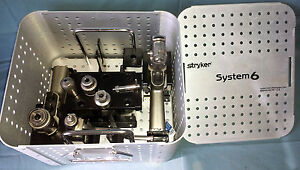 Stryker System 6 Drill Saw Set With Attachments Sterilization Case