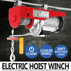 1320lbs Electric Hoist Winch Lifting Engine Crane Overhead Pulley Cable Garage