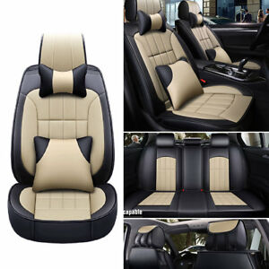 Deluxe Tan Universal Car Seat Cover Full Set Front Rear Leather 13pcs Cushion