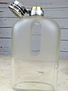 Rare Glass Antique Tiffany Co Sterling Silver Flask 4 5 Gills