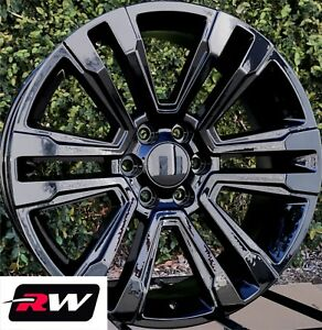 22 Inch Rw 2017 2018 Denali Wheels For Chevy Truck Gloss Black Rims 6x139 7 Set