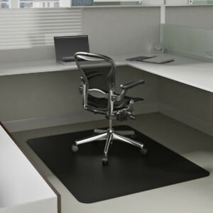 Desk Chair Floor Mat Carpet Protector Black Rectangular Vinyl Carpet Hard Floor