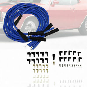 9 5mm Blue Straight Spark Plug Wires Fit Hei Distributor Sbc Bbc Sbf Chevy Ford