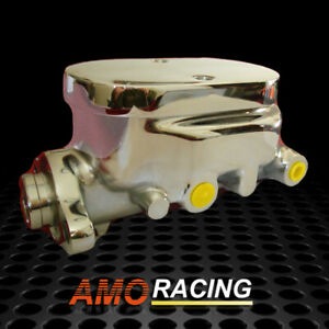 Chrome Aluminum Smooth Flat Top Brake Master Cylinder W 1 Bore Fit Gm Chevy