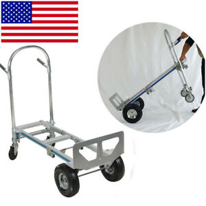 New 2in1 Aluminum Hand Truck 770lbs 51 Height Convertible Foldable 4wheel Cart