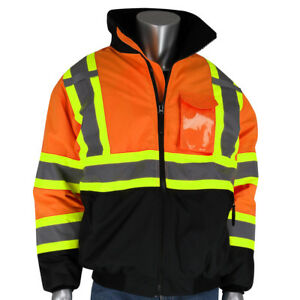 Pip Class 3 Reflective X back Safety Bomber Jacket With Liner Orange