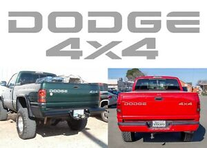 Replacement Silver Metallic Tailgate Vinyl Decals For Dodge Ram