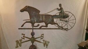 Sulky Driver Horse Weathervane Silicon Bronze Directionals Stainless Steel
